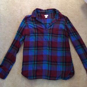 J.Crew multi colored flannel size M